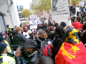 The protest arrives at the Home Office